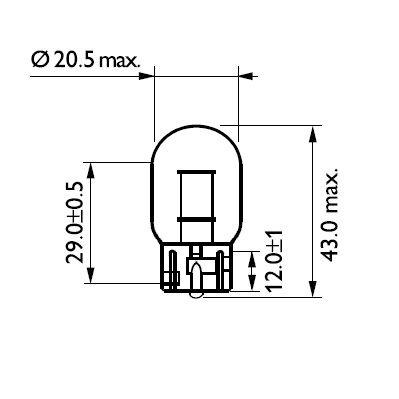 ŻARÓWKA W21W 12V/21W (CAŁOSZKLANA) W3X16
